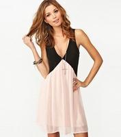2015 new casual dress hit color stitching hollow back women dress V-neck sleeveless chiffon vest dress