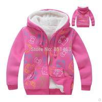 6 pcs/lot  children big girls hooded cartoon hello kitty thick cashmere full zipper sweatshirt / size 100,110,120,130,140,150