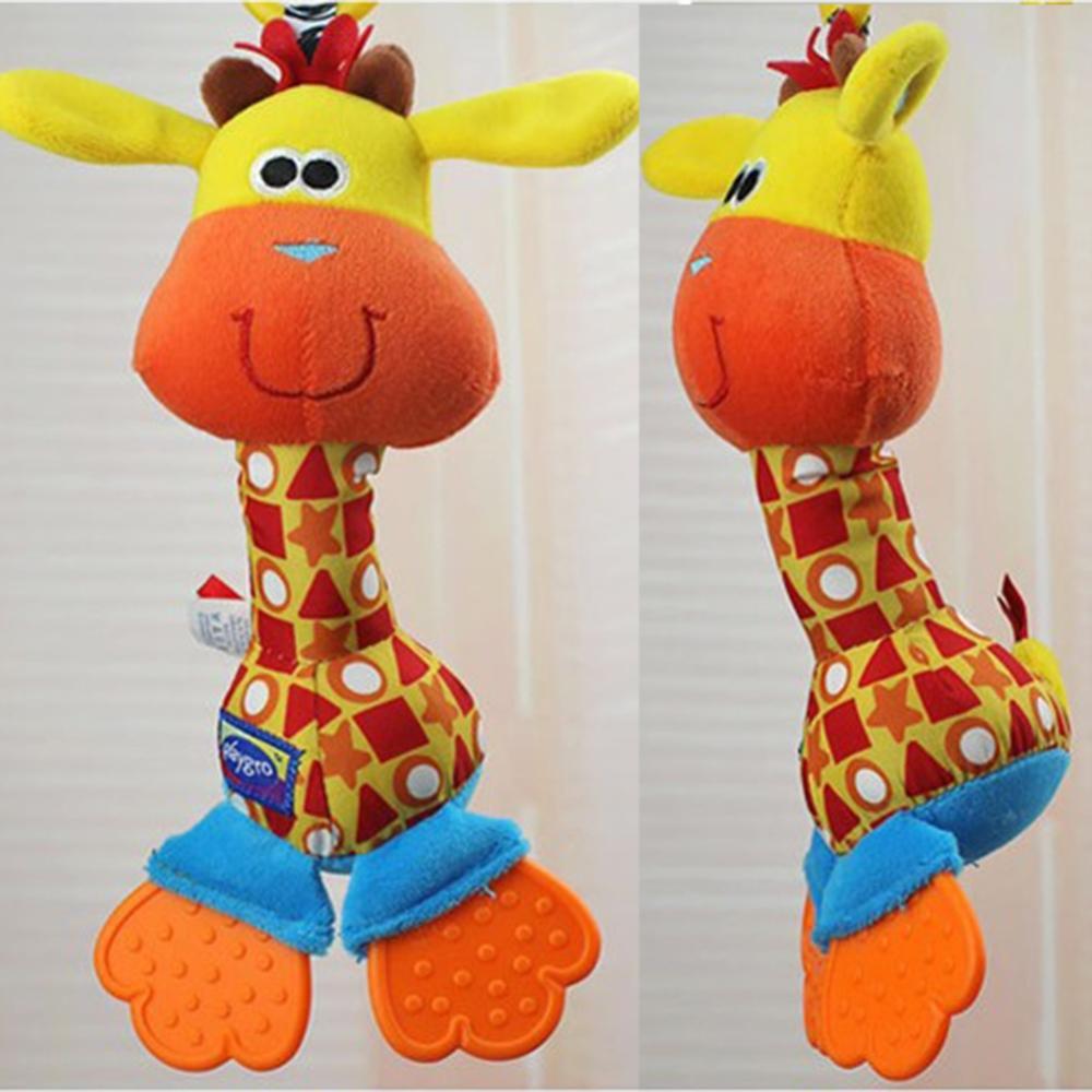 New Plush Animal Giraffe Rattles Toys Hanging Prams Stroller for Baby Gift free shipping(China (Mainland))