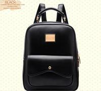 NEW 2014 HOT !!! Sale Women Designer Brand Printing Backpack Daily Backpacks Women's PU Leather Black Student School Bag D284