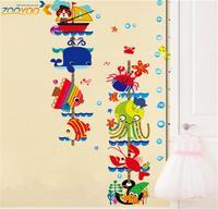 seaworld cat clown fish boat bubble nursery cartoon wall decal zooyoo6336 growth chart stickers kids room decorations 50x70