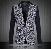 2015 New Arrival Spring Blazer Men Casual Suit Fashion Flower Print Men Blazer Men Jacket Plus Size 4XL 5XL 6XL