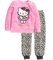 New Girls hello kitty Leopard Pajamas Sets Kids Autumn sleepwear Clothing Set Children Cotton nightwear Pyjamas