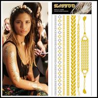 Hot Unique Design Bracelets Temporary Tattoo For Female Beauty Metal Flash Bracelets  Body Art 5 pcs/lot Wholesale