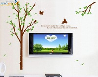 bird tree large wall stickers 3d wall decals quote removable decals zooyoo9022  60*90 living room decoration love words