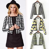 2014 Fashion Women Spring Short Suit Blazers Female Flower Plaid Print European Style Leisure  Casual Jackets Coats Clothing 20