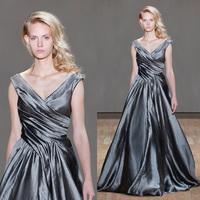 2015 Fashion Ball Gown Taffeta Silver Long Evening Dress V-Neck Chic Cap Sleeve  Prom Dress Vestido De Festa Longo ED070