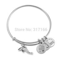 Expandable Bracelet Wire Dolphin Charm bangles