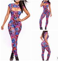Sexy Jumpsuit Women Short Sleeve Rompers colorful jumpsuit Womens printing bodycon jumpsuit Sexy party Bodysuit