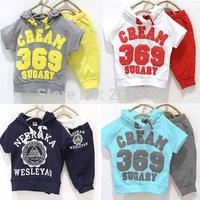 New Baby boy girls Sport 369 number children short sleeve hooded  T-shirt + pants clothes set