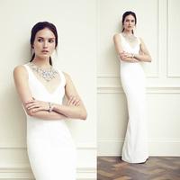 White Elegant Illusion Neck Long Evening Dress Sexy Sheath Column Jewel Slim Evening Gown Vestido Longo De Renda ED071