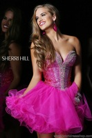 Free Shipping Fashion A Line Strapless Sweetheart Vestidos Women Short Cocktail Dress Crystal/Prom Dress/Homecoming Dresses