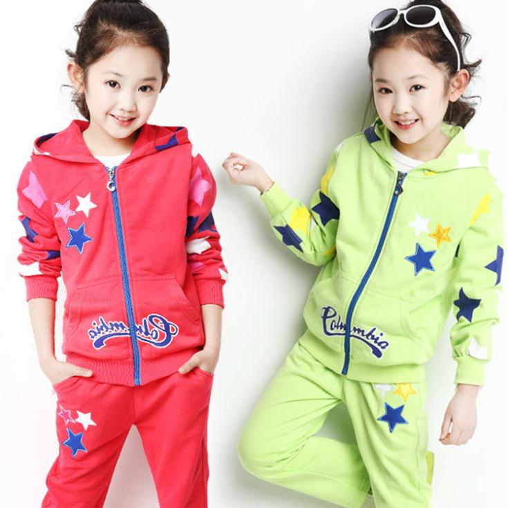 2014 NEW autumn sports children clothing set fashion star girls clothing sets long sleeves coat and pants kids clothes sets(China (Mainland))