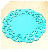 Free shipping creative household supplies round silicone coasters cute coasters Cup mat 10pcs/lot Blue