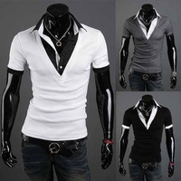 New Korean Fake Two Men's T shirt Men Fit Slim Short-Sleeve T-shirt Casual Stylish Fashion Camisetas