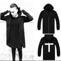 New arrival fashion mens Hoodie long zipper design hoody casual pullover Lengthen hoodies hip hop sweatshirt dance show