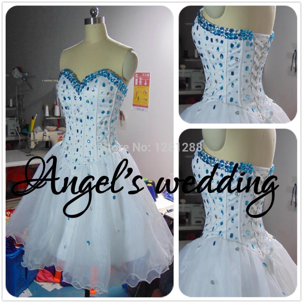 vestidos de atigrada fiesta nouvelle mode sexy robes de bal sans manches courtes 2014 mini bleu perles blanches de soirée formelle robes de cocktail