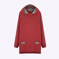 XL-5XL Plus Size XXXXXL Autumn Winter Warm Women Sweater Ladies Loose Wine red Wool hooded Asymmetrical Pullover long knitwear