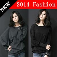 Plus Size Women Clothing Long Sleeve T Shirt Female Loose Women Tops Fashion 2014 t-shirt batwing long sleeve t shirt 1218H