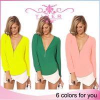 Women Shirt Autumn Winter New Fashion Sexy Hot Women V Neck Zipper Long sleeved Chiffon Blouse Shirt Tops High quality