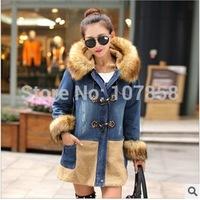 2014 New Brand High quality Down & Parkas Fashion Fur collar Women Winter thick Hooded Denim Jacket Women Warm Cotton Coat