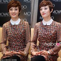 2014 One-piece dress ol slim spring and autumn silk long-sleeve women dress