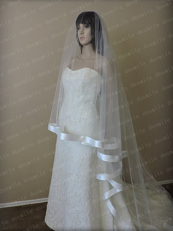 Free Shipping velo de novia ribbon loop hair White&Ivory Sequins stain Edge Purfle Long Cathedral Tulle Wedding Veils Free Comb(China (Mainland))