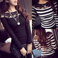 Women Off Shoulder Sexy Lace Stripe Knitwear Long Sleeve Slim Shirt Top Blouse