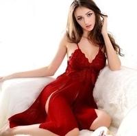 2015 Lady perspective gauze sexy lingerie women sling sexy sleepwear long red split nightgown