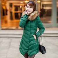2014 Hot fashion solid color fur collar coat women warm cotton jacket Slim cotton coat Free Shipping