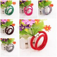 Fashion Men Women Double Shiny Stardust Bracelet Crystal Wrap Magnetic Clasp Mesh Bracelets 14Color Choose