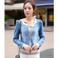 casacos feminino jeans jacket Women Lace Patchwork Long Sleeve Denim jacket Women's Outwear Slim jaqueta Female feminino C4D516