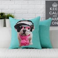 Fun English Bulldog  Cute dog pillow cushion cover Pillowcases office home Decorative sofa cushions Car Cushion 45cm*45cm