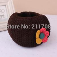New children crochet hat  kids knitted hat  girls flowers cap kid Cotton Beanie Free Shipping