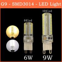2014 The Latest Ultrabright SMD 3014 LED Lamp G9 6W 9W 64 104 leds 220V Warm White/White Corn Bulb Christmas Lights 5pcs/lot