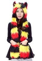 Women's Scarf Stylish Cute Ear Fuzzy Warm Stripe Three-piece Hat-Scarf-Gloves Red&Yellow Hot Sale Free Shipping Free Size Warm
