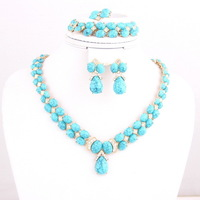 Luxury African 18k Gold Plate Romantic Blue Resin Beads Fashion Jewelry Sets Women Wedding Bridal Costume Jewelry Sets