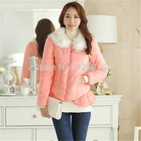 New 2014 Hot Europe Winter Women Down Jacket Slim Thick Cotton Fur Collar O Neck Long Sleeve Zipper Tassel Fashion Warm Coat