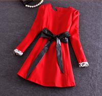 Women Spring  Dress 2015 Fashion Vintage Elegant Office Pu Leather Belt Patchwork Red Dresses Sexy Plus Size Dress
