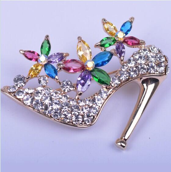 big brand high quality Tzu LAN zircon charm heels offbeat Brooch crystal Brooch Pin high-heeled shoes brooch wholesale jewelry(China (Mainland))