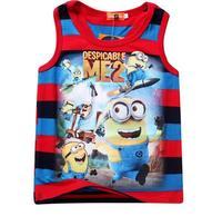 New 2015 summer Despicable Me Tee T-shirt boys vest cartoon shirts baby boy shirt cotton tops kids clothes WD2118