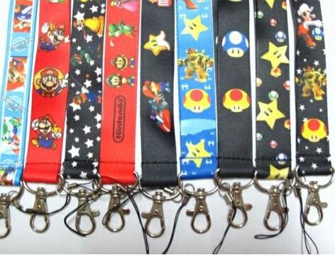 Free Shipping New Lots 10 pcs cartoon Super Mario mix fashion Mobile Phone LANYARD Neck Strap Charms(China (Mainland))