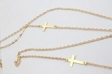 Rihanna Style Brand Gold Cross Pendant Body Chain Sexy Body Chains Double Crosses Bikini Accessories For