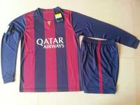 Long Sleeve Soccer Uniform Messi Neymar JR Suarez Rakitic Busquets Mathieu Mascherano 14 15 Away Futbol Kit 2015 Home