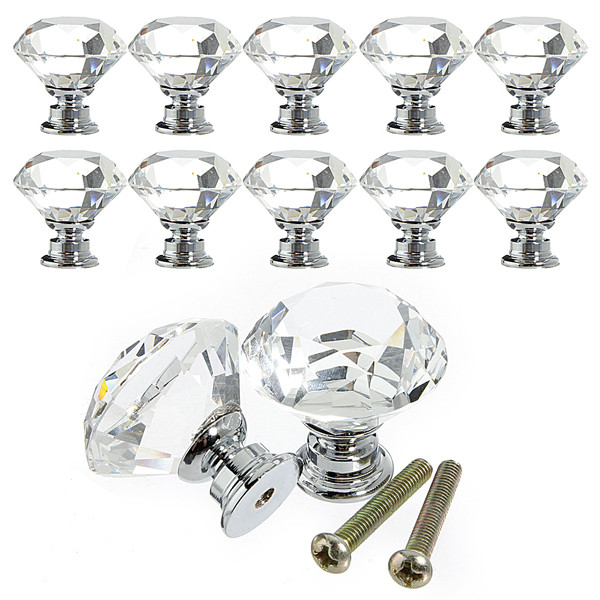 10Pcs 30mm Diamond Crystal Glass Door Knob Drawer Cabinet Pull Handle With Screw Home Decor Furniture Hardware(China (Mainland))