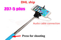 Hot sale! Z07-5 plus Extendable Handheld Monopod Audio cable wired Selfie Stick take photos for IOS Android smart phone DHL ship