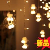 LED 120 Lights With 12 Glass Ball Christmas Decoration Lamp Wedding Garden Light Strip Indoor Outdoor Decoration Strip Light