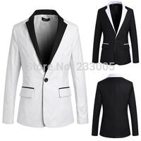 New Stylish 2014 Collar Patchwork Cheap Men Suit Jacket Slim Fit Casual Suits For Men Blazer Designs Blazers Black/White M-XXL