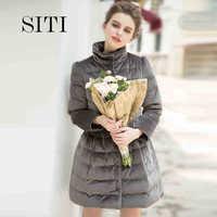 2014 Winter Thicken Warm Woman Down jacket Coat Parkas Outerweat Slim Mid Long Cold Luxury Brand Gold velvet Plus Size 3XXXL