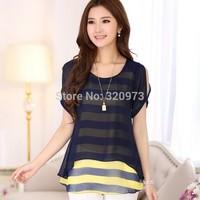 L-4XLsize blusas femininas 2015 new korean fashion plus size loose false two piece women striped blouse shirts free shipping